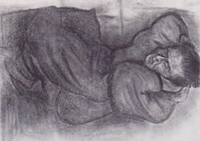 うたたね[母](1960 木炭デッサン )〈utautane〉